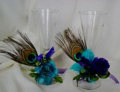 peacock wedding reception decorating ideas | peacock bridal shower ideas | ... Wedding Tie on Wine Glass ... | Wed ...