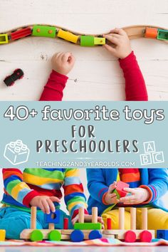 Looking for gift ideas? This amazing collection of over 40 favorite toys for preschoolers was put together after I polled parents. They shared mostly non-tech toys that are open ended, allowing children to use their imagination as they play.#toddlers #preschool #toys #gifts #holidays #birthdays #christmas #kids #2yearolds #3yearolds #teaching2and3yearolds