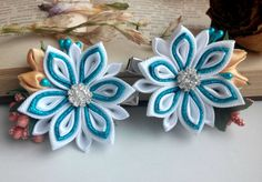 Set of two flower hair clips/Kanzashi flower/Kanzashi hair clip/Kanzashi fabric flowers/Flower girl gifts d about 1,97 inches Ready to ship