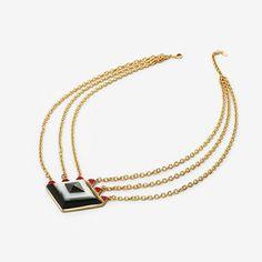 Op Art Pyramid Quartz Chain Necklace by ISHARYA Jewelry