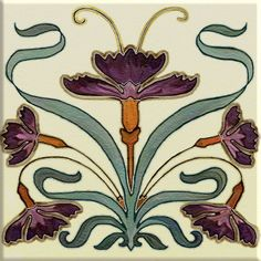 Art Nouveau Ceramic decorative wall tile 6 X 6 Inches #171 in Home & Garden, Home Décor, Tile Art | eBay