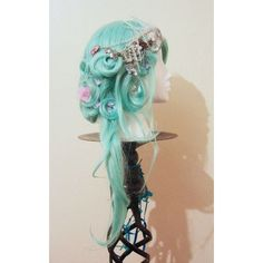 SALE! Icicle Queen Wig in Aqua Blue Green with Crown Lace and Clear... ❤ liked on Polyvore featuring hair