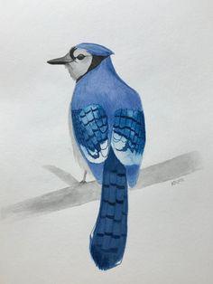 Blue jay original watercolor painting home decor wall art Watercolor Paintings For Sale, Blue Jay, Home Decor Wall Art, Bird Art, The Originals, Animals, Vintage, Etsy, Ideas