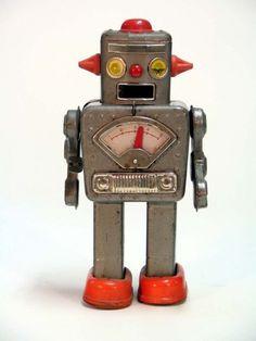 Robot toys for Jonny's robot themed room. Vintage Robots, Retro Robot, Vintage Tins, Retro Toys, Vintage Style, Nono Le Petit Robot, Arte Robot, Cool Robots, Robots Robots