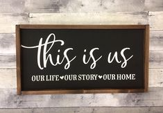 This is us/ Home Decor/ Wall Hanging/ Wooden Signs/ Gallery Wall/ Farmhouse Decor/ Rustic Signs/ Living room Decor/ Family room/ Gift idea - Home Design Wood Signs Home Decor, Family Wood Signs, Home Decor Quotes, Diy Wood Signs, Rustic Signs, Rustic Farmhouse Decor, Rustic Decor, Rustic Wood, Diy Wall