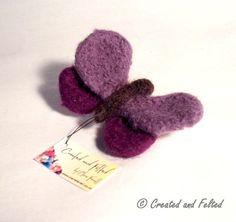Purple Felt Butterfly Brooch by CreatedandFelted on Etsy, $9.65