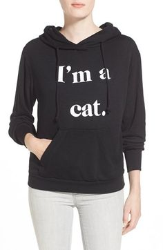 Women's Wildfox 'I'm a Cat' Hoodie, Size Large - Black | 40% desligar