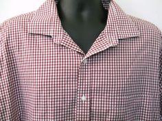 Tasso Elba Mens Shirt XXL Deep Red White Checks Long Sleeves 18.5 Neck Cotton #TassoElba
