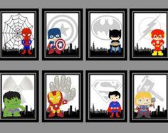 Super Hero Prints(8x10)-Iron Man, Hulk, Superman, Thor, Spiderman, Flash, Batman, Captain America, Super Hero Nursery Decor, PRINTABLE