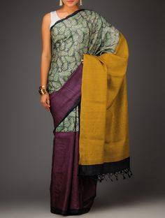 Burgundy-Green Organic Silk Hand woven Saree #Color Block