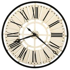 Features:  -Aged black Roman numerals are centered on individual antique white panels applied to the metal frame.  -Quartz, battery operated movement requires 1 AA battery (not included).  -Antique wh