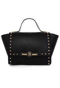 Stud Wing Tote Bag in Black//