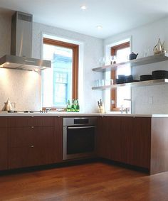 Contemporary Right Knobs & Pulls for Kitchen Cabinets : Wooden Kitchen Cabinet And Wooden Floor Modern Kitchen
