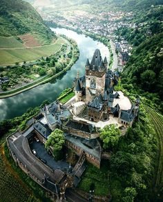 """sodomyandunpleasantaccents: """" ancientorigins: """"A birds-eye view of Cochem Castle, Germany """" Cochem is just one of many beautiful castles that lie along Germany's Mosel River. Beautiful Castles, Beautiful Places, Chateau Moyen Age, Photo Chateau, Places To Travel, Places To Visit, Travel Destinations, Germany Castles, Castle In Germany"""