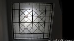 Colorless leaded glass skylight with bevels