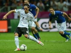 Italy 2 Germany 1 in 2012 in Warsaw. Mesut Ozil scores from the penalty spot on 92 minutes to make it 2-1 in the Semi Final at Euro 2012.