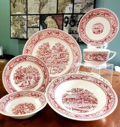 1965 Memory Lane Pink Pattern by Royal Ironstone USA Setting settings available) ! This impeccable condition 6 piece set includes: Cup & Saucer Dinner Plate Bread & Butter Plate Rim Soup Bowl Desert / Sauce Bowl Please note, there are 2 x 6 piece Tea For One, Currier And Ives, Pink Patterns, Dinner Plates, Vintage Silver, Cup And Saucer, 4th Of July, Decorative Plates, Deserts
