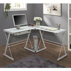 Corner Glass Desk Home Office Dorm Den Metal Space Saving Computer Stand White #WalkerEdison #Contemporary