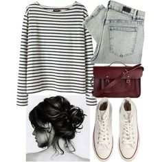 Chic but lazy day ensemble. Stripes paired with denim.