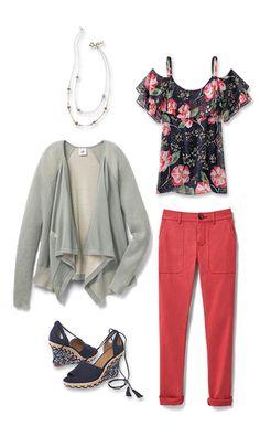 Floral Cold Shoulder, Pocket Cardigan with the soft red Hutton. Shops 24/7 @ deborahkolb.cabionline.com