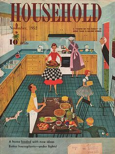 You can smell Thanksgiving from here. I especially like the dog. Household - November 1952