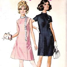 Vintage Misses Sewing Pattern Bust 34 A-Line Dress Princess Seams Simplicity 60s