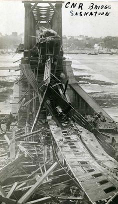 CNR Train Bridge Collapse in Saskatoon, SK: Twelve people were injured, two seriously, when the first span of the CNR Railway Bridge collapsed on March 12, 1912, taking a sleeper car down on to the ice below.