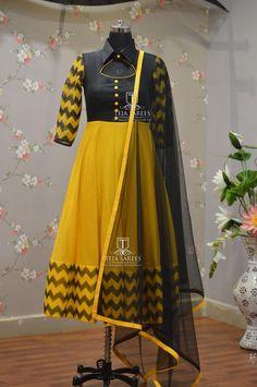 Beautiful royal blue color floor length anarkali dress with multi color tassels. Salwar Neck Designs, Kurta Neck Design, Kurta Designs Women, Dress Neck Designs, Blouse Designs, Long Dress Design, Girls Frock Design, Designer Anarkali Dresses, Gown Designer