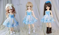 https://flic.kr/p/QWKXE4 | Light blue dress for TINY bjd LittleFee Momocolor29/Momotree29, Saintbloom | New dress for tinies on etsy.com/shop/frezje