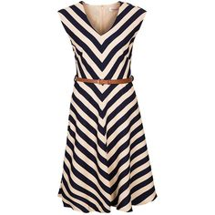 Louche DUCHESS NAUTICAL Summer dress navy/cream ($64) ❤ liked on Polyvore featuring dresses, blue, print dress, blue summer dress, striped dress, blue day dress e cream dress