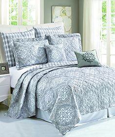 BNF Home 7 Piece Printed Microfiber Melody Bedspread Quilts Set, Queen Coverlet Bedding, Ruffle Bedding, Comforter Sets, Comforters, Pillow Shams, Queen Bedding, Euro Shams, Paisley Bedroom, Tahari Bedding