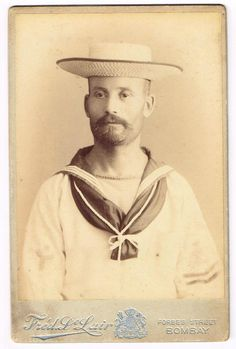 48b0d729755 Cabinet Photo British Sailor in Straw Hat Fre D A de Lair Studio Bombay  India