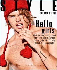 Jordan Barrett goes shirtless for the cover of Sunday Times Style magazine.