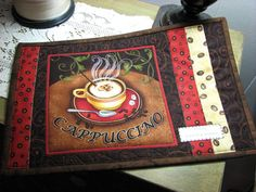 Mug Rug Table Quilt Quilted Mug Rug Free Shipping by ArtbyKC, $15.00