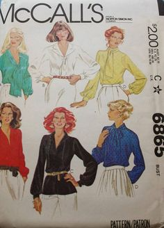 Blouse Sewing Pattern /McCall's 6865/ Tie Neck Blouse /V