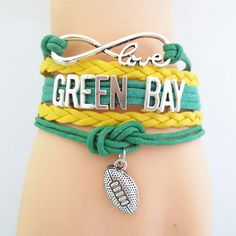 Show off your team spirit with one of our cute sports infinity love bracelets! Football Jewelry, Football Bracelet, Green Bay Football, Green Bay Packers, Go Packers, Packers Gear, Cheerleading Outfits, Infinity Love, Fantasy Football