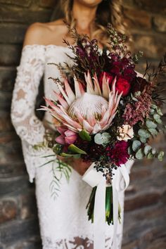 blush and burgundy bouquet with giant king protea Best of bouquets. blush and burgundy bouquet with giant king protea Wedding Flower Guide, Fall Wedding Flowers, Bridal Flowers, Floral Wedding, Wedding Colors, Wedding Floral Arrangements, Wedding Flower Bouquets, Rustic Wedding, Wedding Ideas