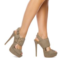 Taupe peep toe heels! With gold buckles. Gotta love it!