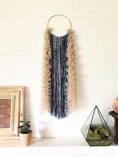 Round Fiber Art Wall Hanging | Bohemian Modern Dream Catcher | Blue and Textured Yarn | Gifts Under Diy Craft Projects, Diy Crafts, Diy Beauté, Yarn Wall Art, Dream Catcher Boho, Dream Catchers, Rope Art, Textured Yarn, Modern Bohemian