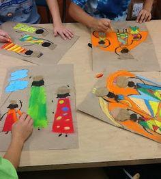 "Allen's Art Room: African Kanga Compositions - have burlap ""baskets"" to glue on top of heads African Art Projects, African Crafts, African Art For Kids, Creation Art, 4th Grade Art, Africa Art, West Africa, Ecole Art, Art Africain"