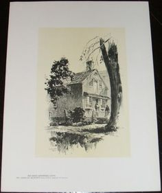 Fine Original 1922 print of an Old Shop,in Litchfield, Ct by O.R. Eggers