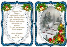 A lovely card with a lovely scene and verse on lace with Christmas bells