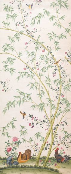 Set of four Chinese wallpaper panels, late eighteenth or nineteenth century, sold Sothebys New York 9 June lot 154 Accent Wallpaper, Wallpaper Panels, Pattern Wallpaper, Hand Painted Wallpaper, Painting Wallpaper, Decoration, Art Decor, Chinese Wallpaper, Asian Wallpaper