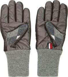 Moncler Gamme Bleu Gray Wool Argyle Gloves