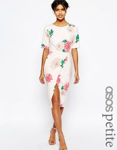 Image 1 ofASOS PETITE Occasion Wiggle Dress In Floral Print With Wrap Front