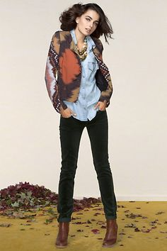 Anthropologie.com Outfits: Laid-Back Layering.  Casual layers with a fantastic, detailed jacket *wishlist*