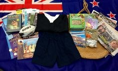"""This weekend is all about New Zealand! Check out our culture kit on New Zealand. Some items include a New Zealand map, """"New Zealand ABCs"""" book, postcards, photos, Maori (Te Reo) language books, a mini rugby ball, the New Zealand Herald, and a South Pacific Islands CD. Other items from daily life include a large cloth flag, currency, Kiwi Country New Zealand DVD, Maori Culture, Traditions, History DVD, and sphagnum moss. Share New Zealand's culture with your class now!"""