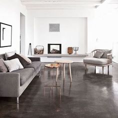 How good is this contrast, dark charcoal polished floors with white walls  Thursday night Inspo via Pinterest . #ydconcretepolishing #concrete #flooring #polishedconcretefloors #polishedconcrete #architecturalconcrete