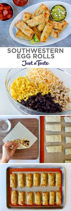 Baked Southwestern Egg Rolls are loaded with chicken, black beans, corn and cheese, plus guacamole for dipping! | recipe from justataste.com #recipe #eggrolls
