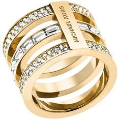 Michael Kors Pave & Baguette Barrel Ring ($125) ❤ liked on Polyvore featuring jewelry, rings, gold, baguette ring, yellow gold rings, gold pave ring, gold jewelry and michael kors
